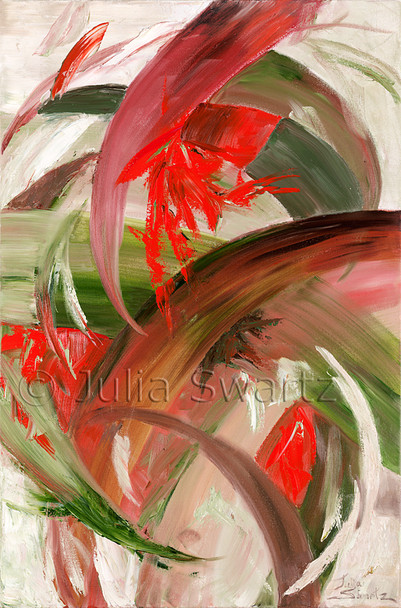 An abstract oil painting, Tropics, by Julia Swartz, Lancaster PA