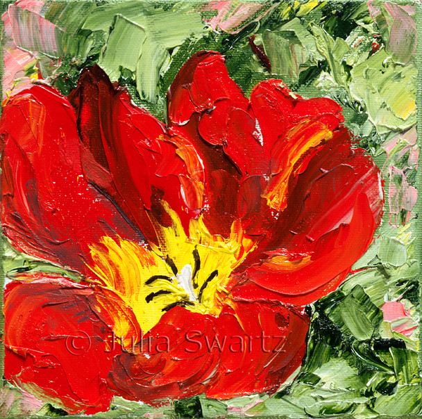 A Red Tulip Flower painted close up with oil on canvas by Julia Swartz