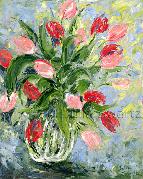 Original Oil paintings on canvas of Red Tulips by Julia Swartz Lancaster PA