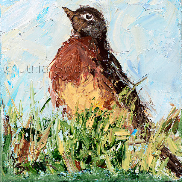 An impressionistic close up oil painting of a Robin by Julia Swartz Lancaster PA