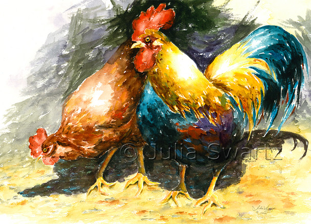 A watercolor painting of a bright colored Rooster and hen by Julia Swartz.