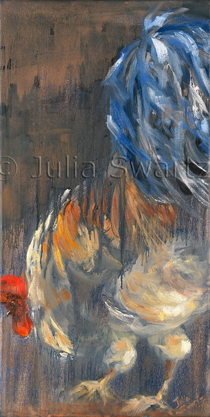 An impressionist oil painting of a bright colored Rooster by Julia Swartz.