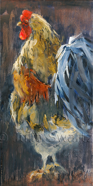 An second impressionism oil painting of a bright colored Rooster by Julia Swartz.