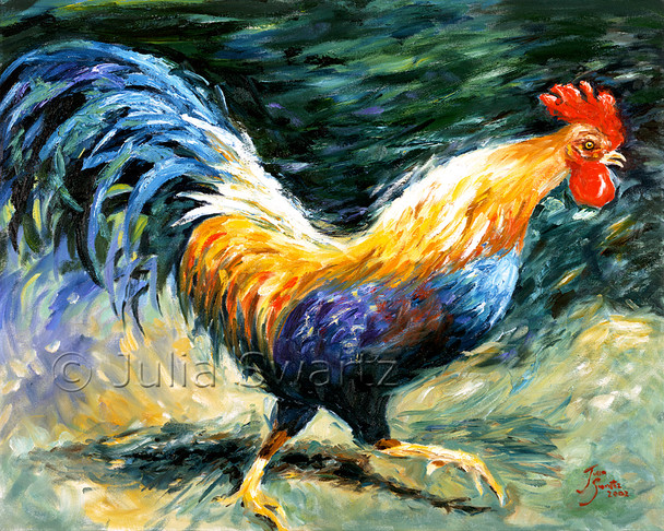 This beautiful rooster is our Amish neighbors rooster. It is painted with oil on canvas by Julia Swartz.