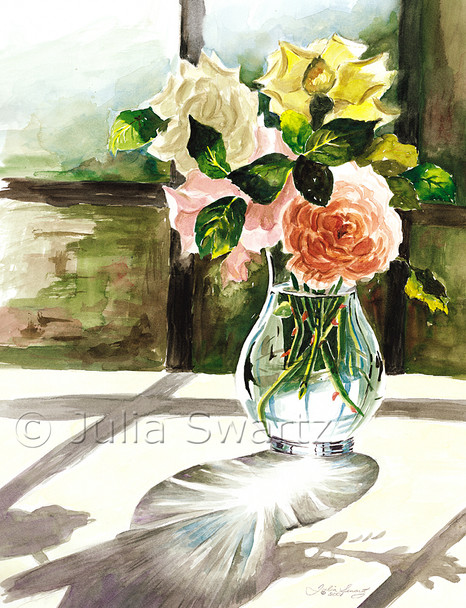 These are cut roses from our rose garden in watercolor by Julia Swartz