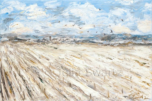 An impressionist oil painting of corn stubble poking through the snow with crows flying overhead on a winter day in Lancaster County, by Julia Swartz