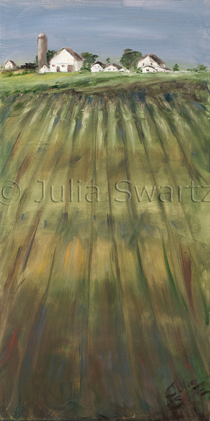 A landscape oil painting of rows in a farm field with an Amish Farm in the background by Julia Swartz, Lancaster PA.