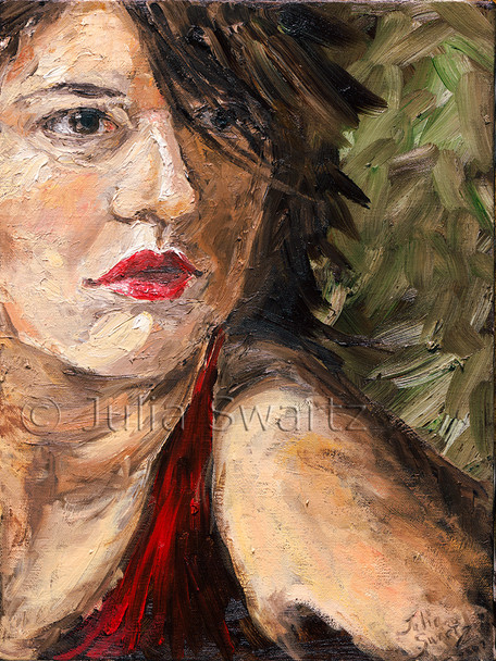 This intimate oil portrait of Leah emphasizes the bright red of her outfit and lipstick by Julia Swartz.