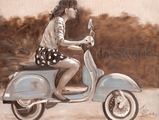 An Original Figure Oil paintings in sepia and white of a young lady riding a scooter. Julia Swartz Gallery, Lancaster PA