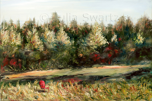 In recent years, Julia's landscapes have evolved into a stylistic blend of realism and impressionism. In her painting Serenity, part of the Red Chair Series, she shows the evening sun hitting the top of the pine trees in a snowy scene from the woods in northern Pennsylvania.