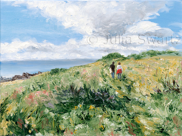 A portrait and Landscape Oil paintings by Julia Swartz and a friend near the sea shore in Ireland.