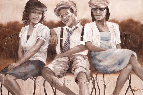 A portrait oil painting of three siblings in sepia and white by Julia Swartz, gallery, Lancaster PA