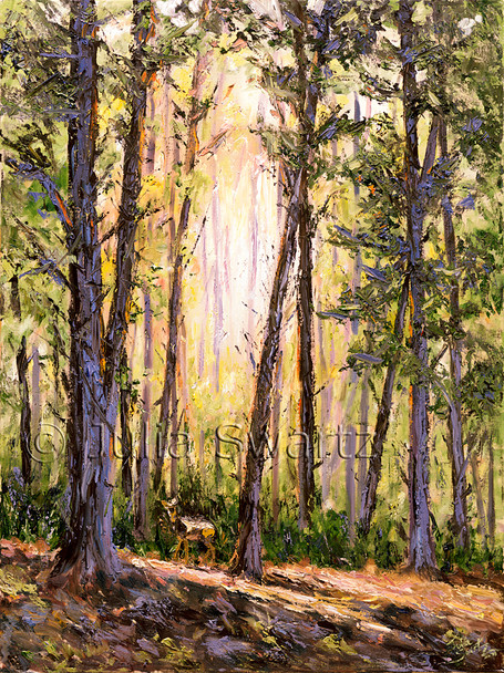 An impressionistic oil painting of the sun shining through a forest of trees by Julia Swartz.