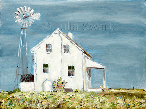 An Original Oil paintings of an Amish Farm House and windmill by Julia Swartz, Lancaster PA.