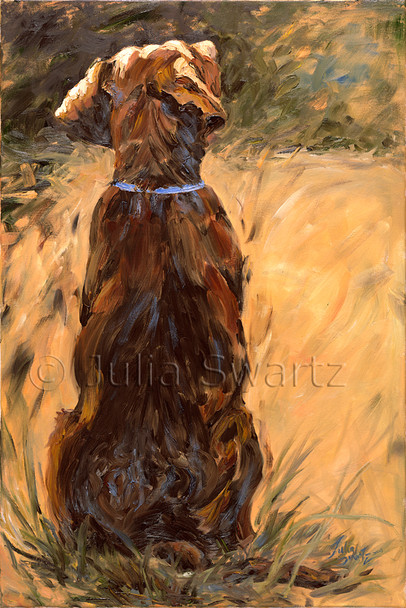 An oil painting of a chocolate lab.