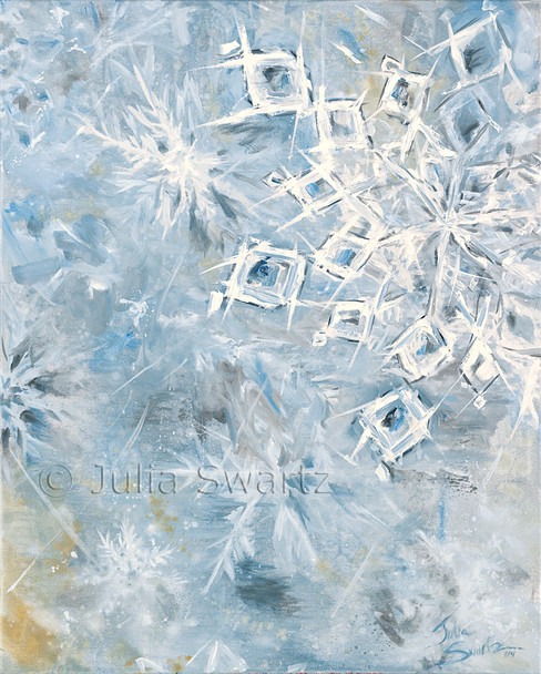 An oil painting of snow flakes by Julia Swartz