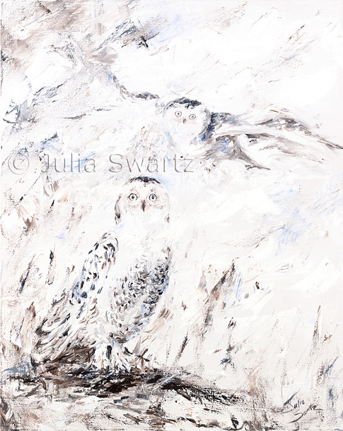 An impressionist oil painting of two snowy owls by Julia Swartz. In 2014 several snowy owls spent the winter in the local farm fields, a rare event for Lancaster Co.