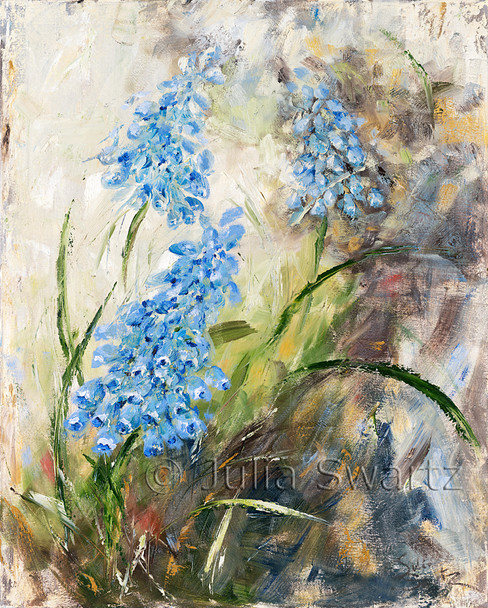 An impressionist oil painting of Blue Bell, aka, Grape Hyacinth by Julia Swartz. Lancaster PA