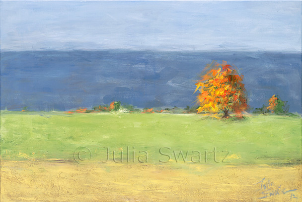 An oil painting on canvas of freshly planted wheat with a bright orange fall tree and in the background a row of mountains. Somewhere north of Pine Grove PA by artist Julia Swartz.