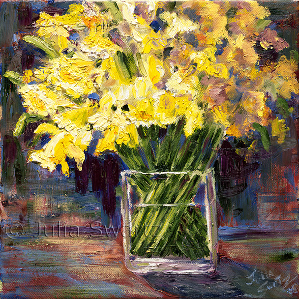 Yellow daffodils in a glass vase painted in oil on canvas by Julia Swartz