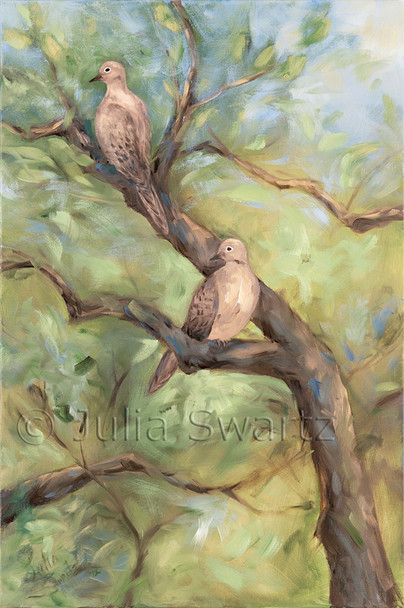 An oil painting of two mourning doves in a tree by Julia Swartz Lancaster PA