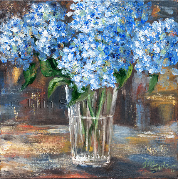 An oil painting of Blue Hydrangea bouquet in a glass vase by Julia Swartz
