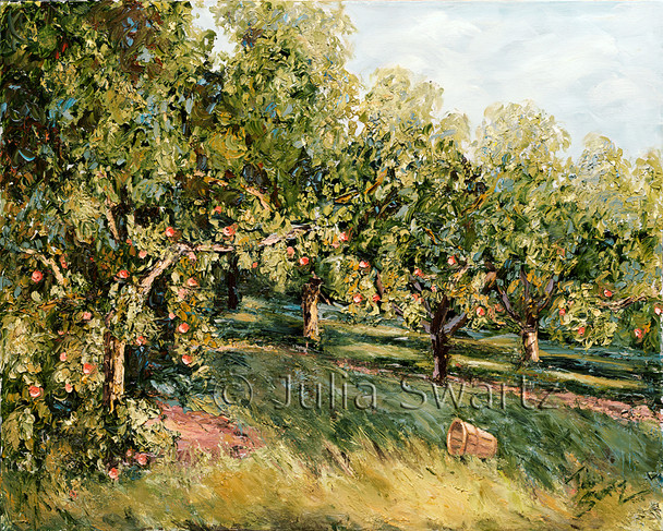 The long shadows of the evening light grace the ripe peach trees in the oil painting by Julia Swartz.