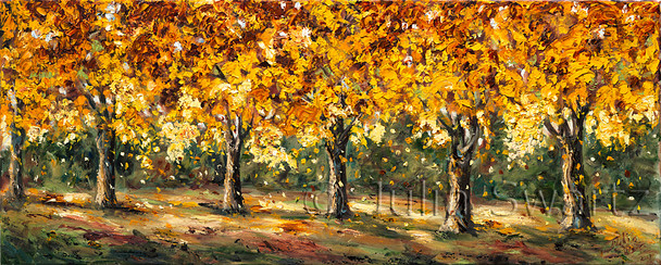 At the edge of Julia's property we find this row of maple trees, their brilliant autumn color captured forever in oil paint.