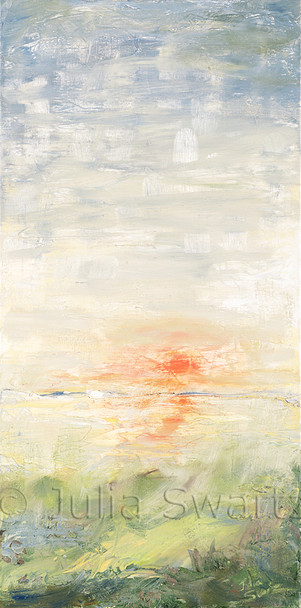 An impressionist landscape oil painting of the sun setting over the water by Julia Swartz.