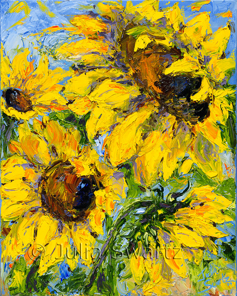 Julia has achieved an impressionistic delight in her first painting of sunflowers!