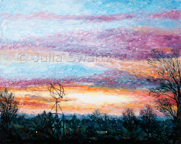 A beautiful sunrise oil painting by Julia Swartz.