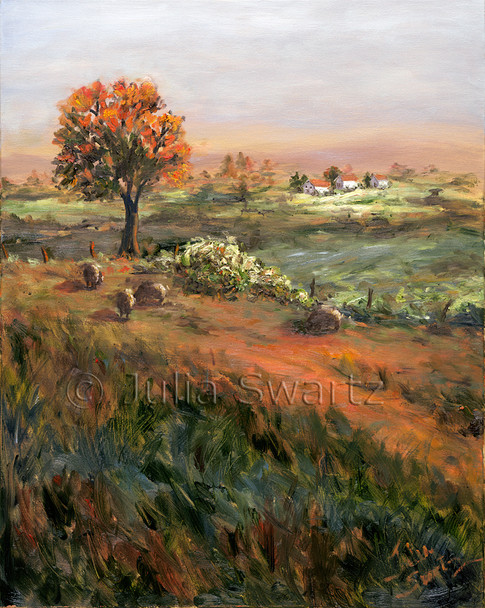 This oil painting is similar to Fall Graze, with the evening glow of sun lighting up the three sheep and distant farm.