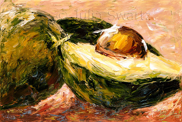 An Avocados still life oil painting on canvas by Julia Swartz.