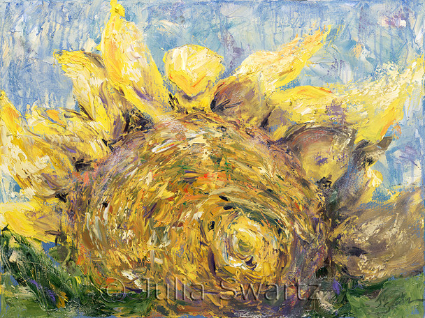 A second close up oil painting of a yellow Sunflower another angel by Julia Swartz.