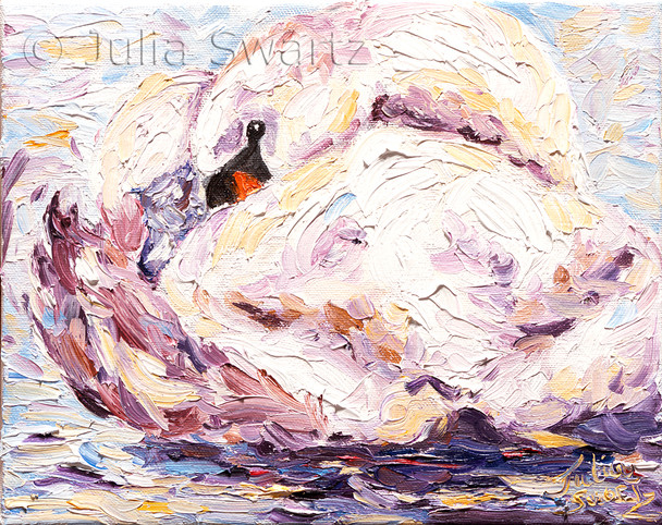 This palette knife oil painting is a closely cropped image of a swan on a cold day at Greenfield Industrial Park.