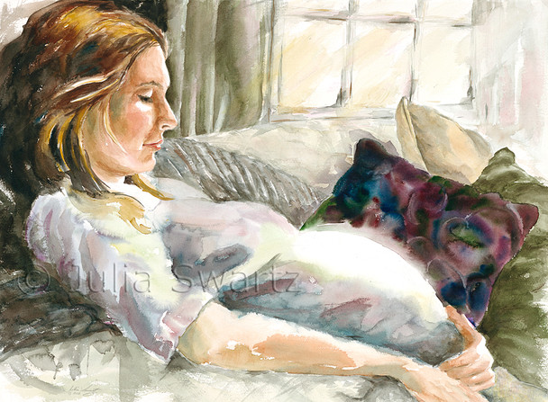 A watercolor painting of a pregnant woman by Julia Swartz.
