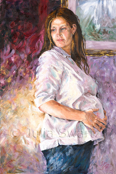 This oil painting is a portrait of Julia's daughter-in-law, Amy, while pregnant with her son Colby.