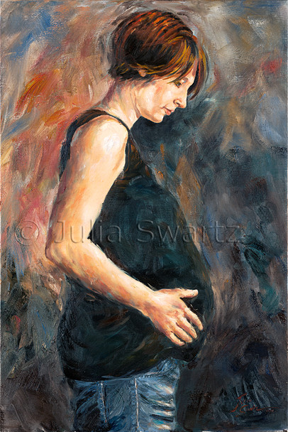 This oil painting is a portrait of Julia's beautiful daughter-in-law, Amy