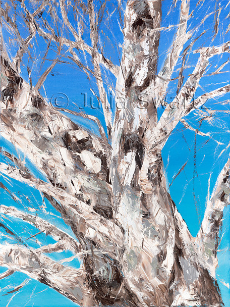 An impressionist oil painting of a big Sycamore tree against a blue winter sky by Julia Swartz, Lancaster PA