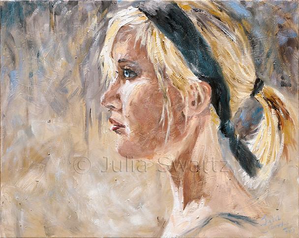 A portrait oil painting of Sarah by Julia Swartz.