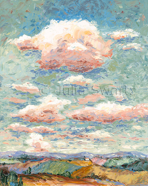 An oil painting of lots of colorful clouds in the sky above the rolling hills of PA by Julia Swartz.