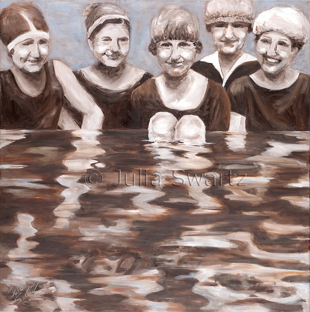 Oil paintings of Mennonite women bathing in the creek by Julia Swartz, Lancaster PA.