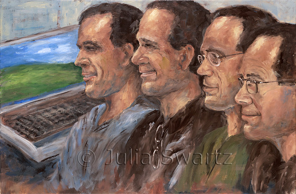 A portrait oil painting of four brothers at a family reunion. Terry, Randy, Kent, Robert by Julia Swartz.