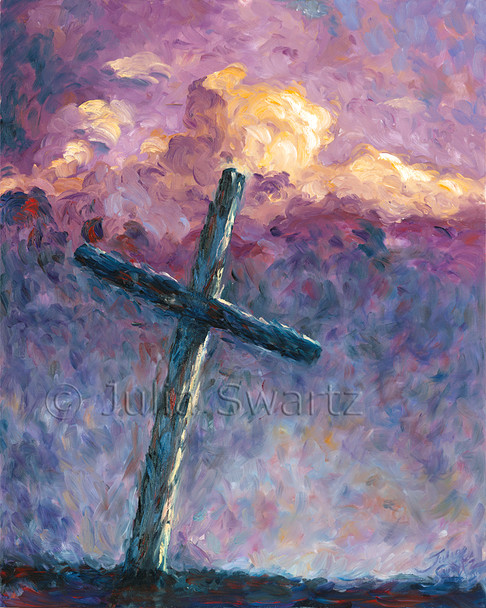 An oil paintings of the cross by Julia Swartz