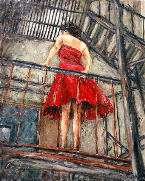 A figure portrait oil painting on canvas of a young lady standing on a fire escape.