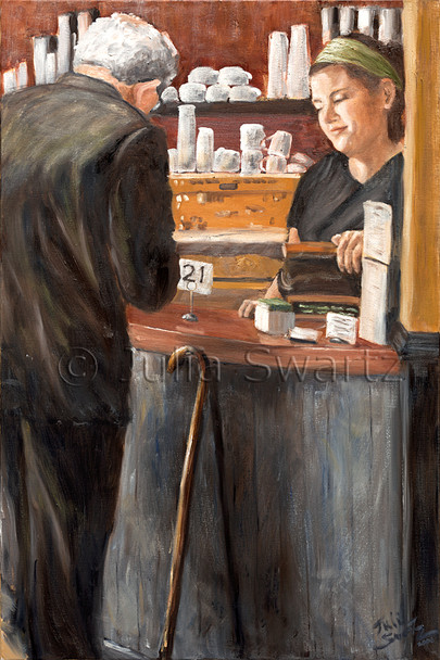 An oil painting of an elder gentleman with a cane paying his bill at a cafe.
