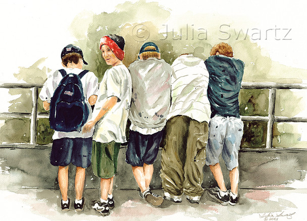 A watercolor painting of five young boys standing at a rail on an observation tower in Gettysburg PA .