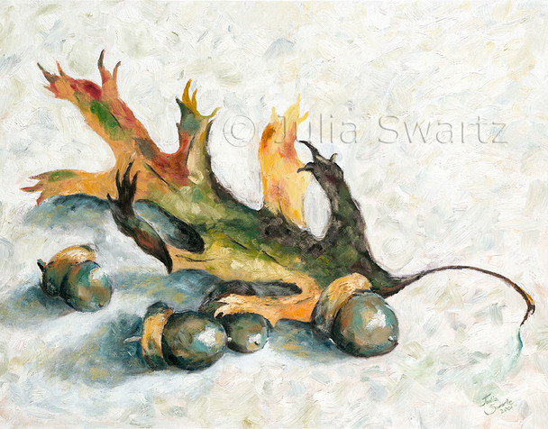 An oil painting of acorns and a oak leaf by Julia Swartz