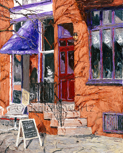 The Purple Mug is a oil painting of a cafe that has closed by Julia Swartz.