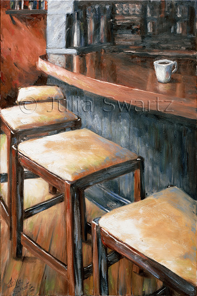 An oil paintings of  a cafe counter with one cup of coffee.